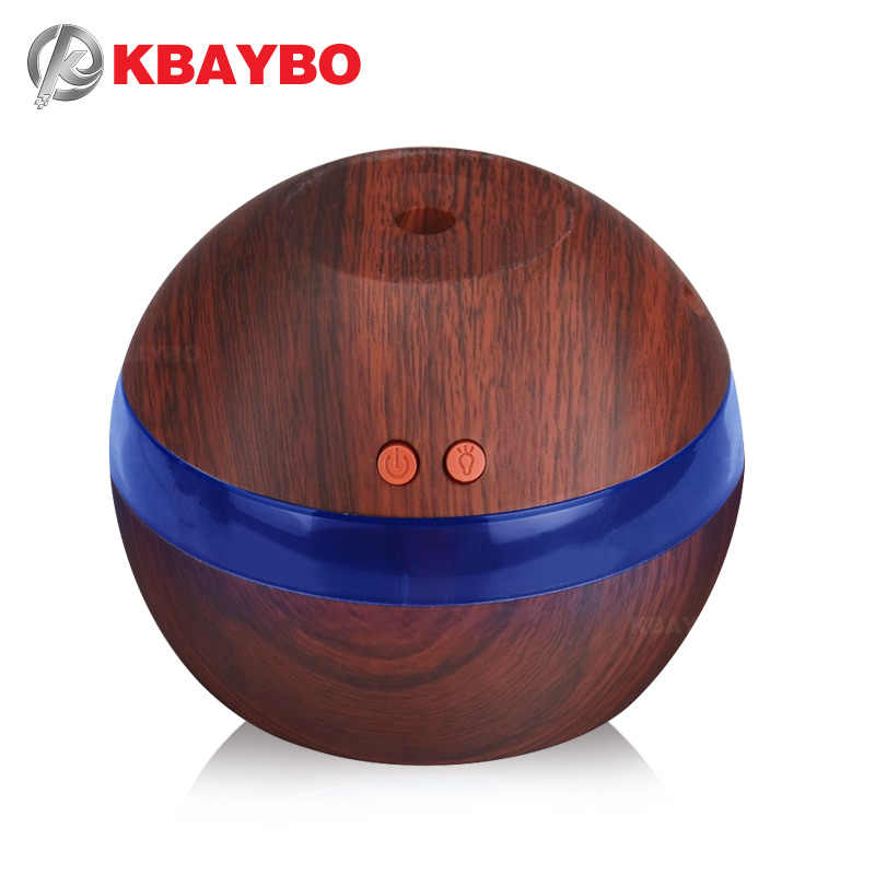 KBAYBO USB Ultrasonic Humidifier 290ml Aroma Diffuser Essential Diffuser น้ำมันหอมระเหยเครื่องทำ Mist LED Light Wood grain