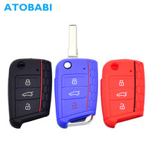3 Buttons Folding Silicone Car Key Case Remote Keychain Shell Skin Protector Cover Jacket for VW Golf 7 GTI MK7 Skoda Octavia A7(China)