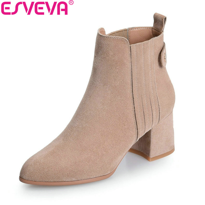 ESVEVA 2018 Women Boots Elegant Handmade Chunky Warm Fur Boots Square High Heels Pointed Toe Ankle Boots Ladies Shoes Size 34-39 esveva 2018 women boots zippers square high heels appointment warm fur pointed toe ankle boots chunky ladies shoes size 34 39