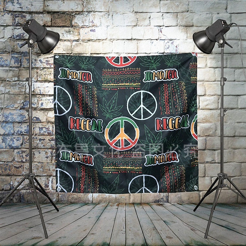 Jamaica Reggae Peace and Freedom Pop Band Sign Cloth Flag Four Hole Hanging paintings Cafe Hotel Music Studio Decoration