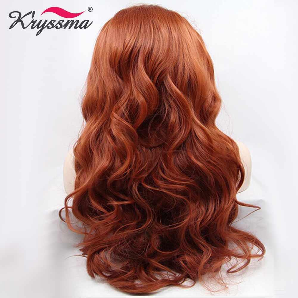 Медный красный длинный парик Оранжевый Auburn Волнистые парики для женщин синтетический парик фронта шнурка Вечерние бесклеевые термостойкие волокна