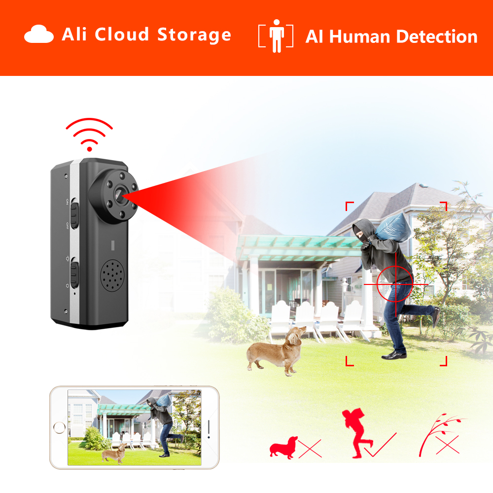 HD Smart Mini Wifi Camera AI Human Detection IP AP Camera Ali Cloud Storage IR Night