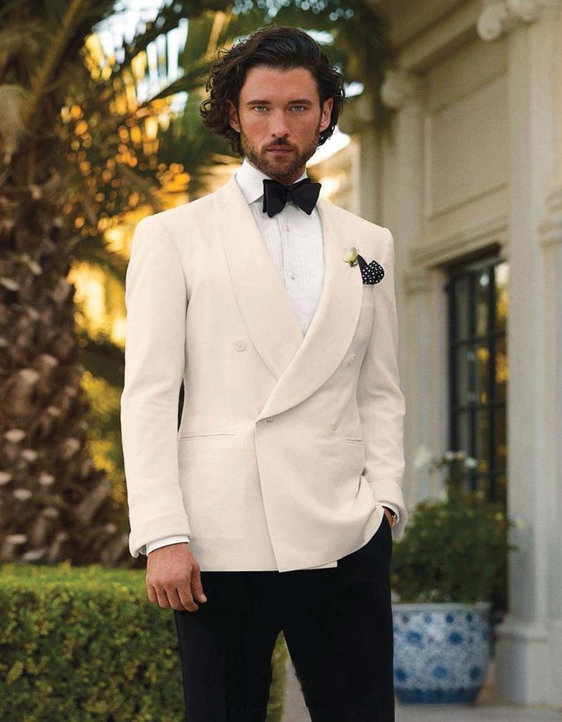 2017 Ivory Tuxedos For Men Shawl Lapel Wedding Suits Formal Mens Double Ted Grooms Suit Jacket Pants Bow Tie In From S Clothing