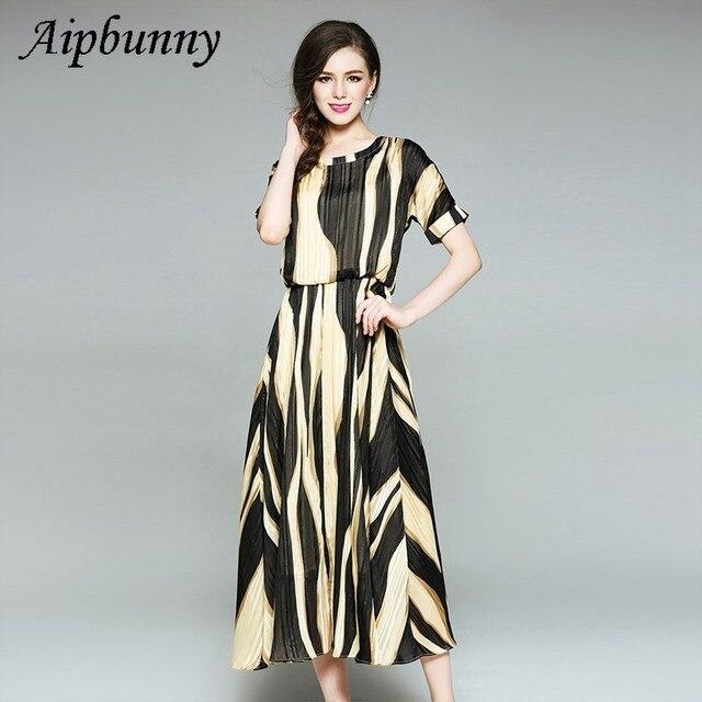 c806c53ee246 Round Neck Spring Summer Women Yellow Vertical Striped Long Shirt Dress  Ladies Lapel Short Sleeve Split Maxi Dresses Vestidos