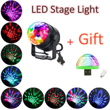 3W RGB LED Stage Light Sound Activated Rotating Disco Ball Party Lights for Christmas Home KTV Xmas Wedding Show with Gift