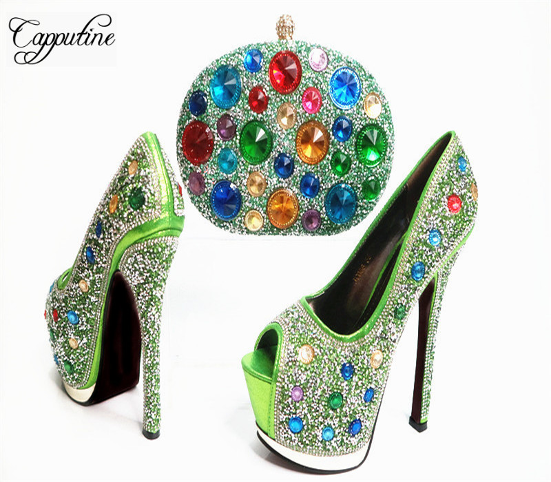 Capputine European Desgin Decorated With Rhinestone Shoes And Bag Set Italian Style High Heels Woman Shoes And Bag For Party G33 capputine high quality crystal super high heels shoes and bag set italian style woman shoes and bag set for wedding party g33