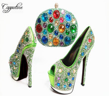 Capputine European Desgin Decorated With Rhinestone Shoes And Bag Set Italian Style High Heels Woman Shoes