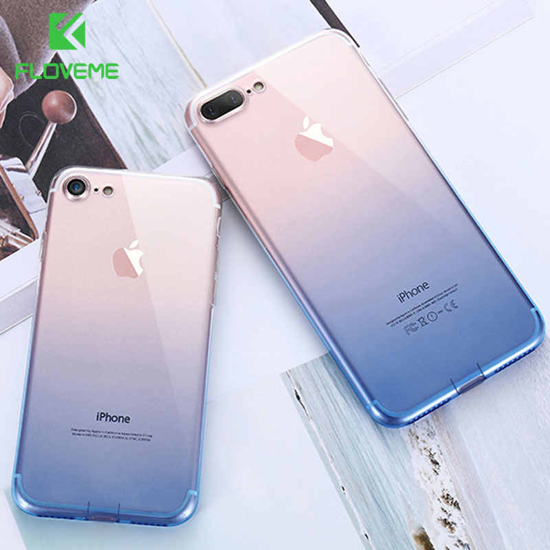 FLOVEME para iPhone 7 7 más 8 8 Plus funda transparente Ultra fino TPU suave caso de silicona para el iPhone 6 6 s Plus iPhone 5 5S SE Capa funda fundas for iphone 6 7 8 plus 6s 8plus for iphone 7 xs xs max xr case