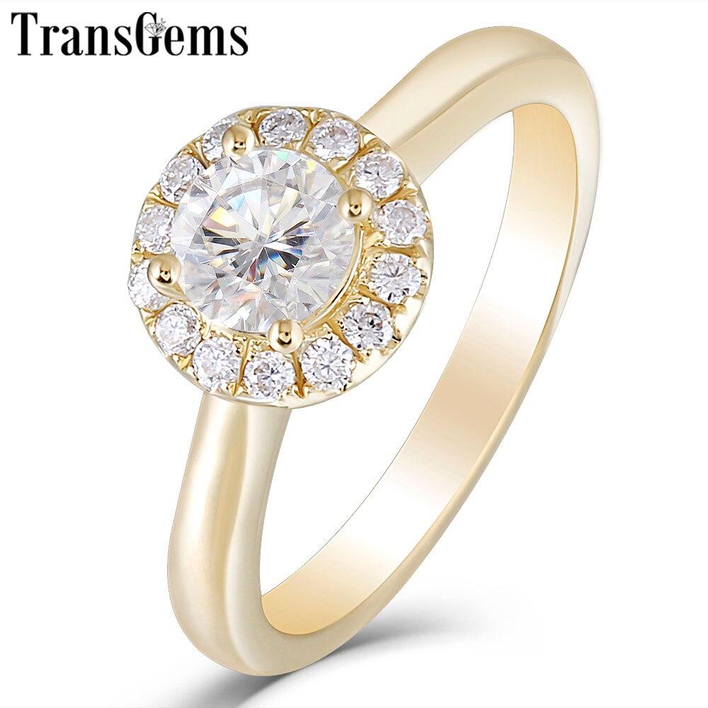 Transgems 14 K Oro Giallo 0.5ct 5 millimetri FG Colore Moissanite Anello di Fidanzamento per le Donne di Nozze Classico Anello Donna con moissanite