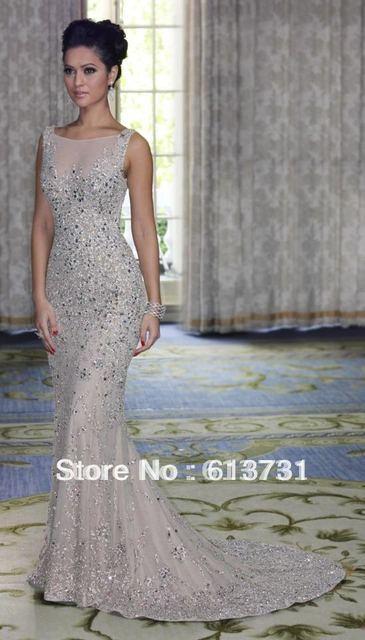 596a64fe82 Wholesale - 2016 New Design Cap Sleeve High Neck Heavy Beaded Silver Long  Chiffon Mermaid Evening Dress DH003832