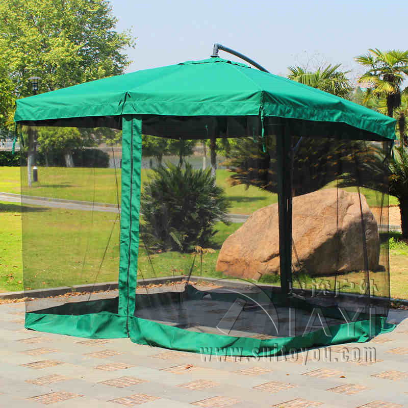 2.7 Meter Steel Iron Sun Garden Umbrella Parasol Patio Outdoor Furniture  Covers Sunshade With 4 Sides Gauze