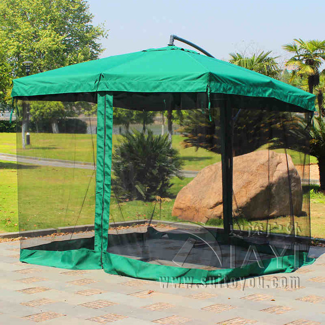 2.7 meter steel iron sun garden umbrella parasol patio outdoor furniture covers sunshade with 4 sides gauze