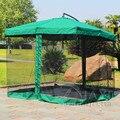 2.7 metro de aço de ferro sol parasol do guarda-chuva do jardim do pátio ao ar livre mobiliário cobre pára com 4 lados de gaze