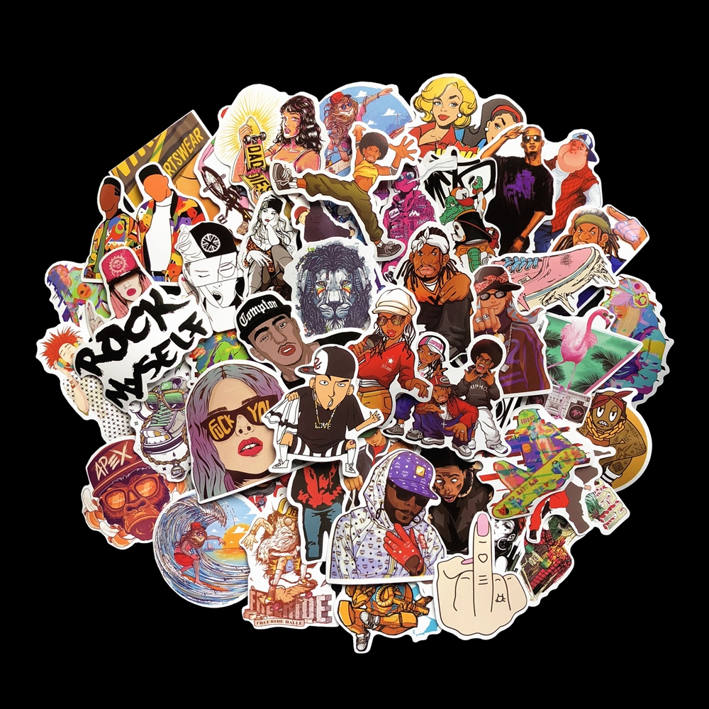 48 Piece/lot Street Culture Hiphop Style Stickers For Motorcycle Skateboard Car Luggage Laptop Pad Phone Pvc Decal Sticker
