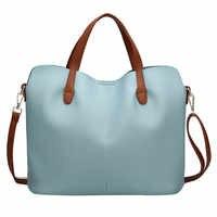 Bolso de mujer de moda de cuero de Color puro bandolera con cremallera bolsa de mano femenina bolsos para mujer 2019 bolso mujer