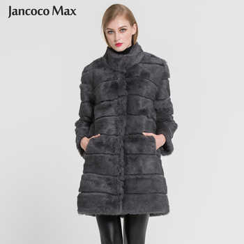 Jancoco Max 2019 New Winter Real Rabbit Fur Jacket Warm Soft Long Fur Coat Women Christmas Dress S1675 - DISCOUNT ITEM  49% OFF All Category