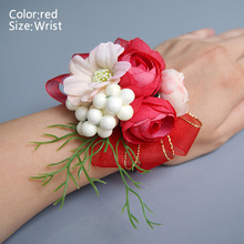 Hot Bride Corsage Artificial Wedding Flower Lace Leaves Decoration Bridesmaid Wrist LFD