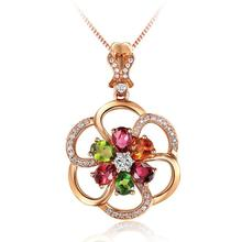 Everoyal Trendy Silver 925 Lady Choker Necklace Gold Accessories Female Vintage Colorful Crystal Flower Girls Jewelry