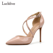 Luchfive Women red nude white sandals women high heels buckle strap pointed toe cross tied shoes side cut out women pumps