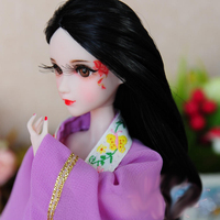 Doll Head / Long Black Hair 3D Eyes Real Eyelash Hand Drawing Make Up Head Accessories DIY For Xinyi OB White Skin Doll