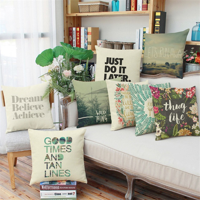 Marvelous Fresh Letters Blessing Lucky Wish Flower Pattern Sofa Car Coffee Shop Hotel  Home Cushion Cover Decoration