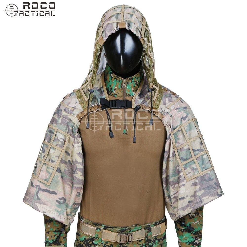 Rocotactique militaire Sniper Ghillie Viper capuche Combat Ghillie costume fondation personnalisée Ghillie capuche veste Camouflage boisé - 2