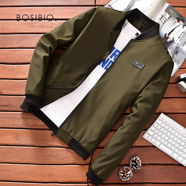 BOSIBIO Summer Autumn Mens Jacket Stand Collar Windbreaker Male Blue Baseball Jackets Casual Thin High Quality Size M-4XL LH-2 2
