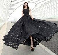 Maxi D'été Plaid Femmes Dress Nouvelle Longue Organza jour Dress Vestidos De Festa Satin style De Mode noir bleu rose femmes robes