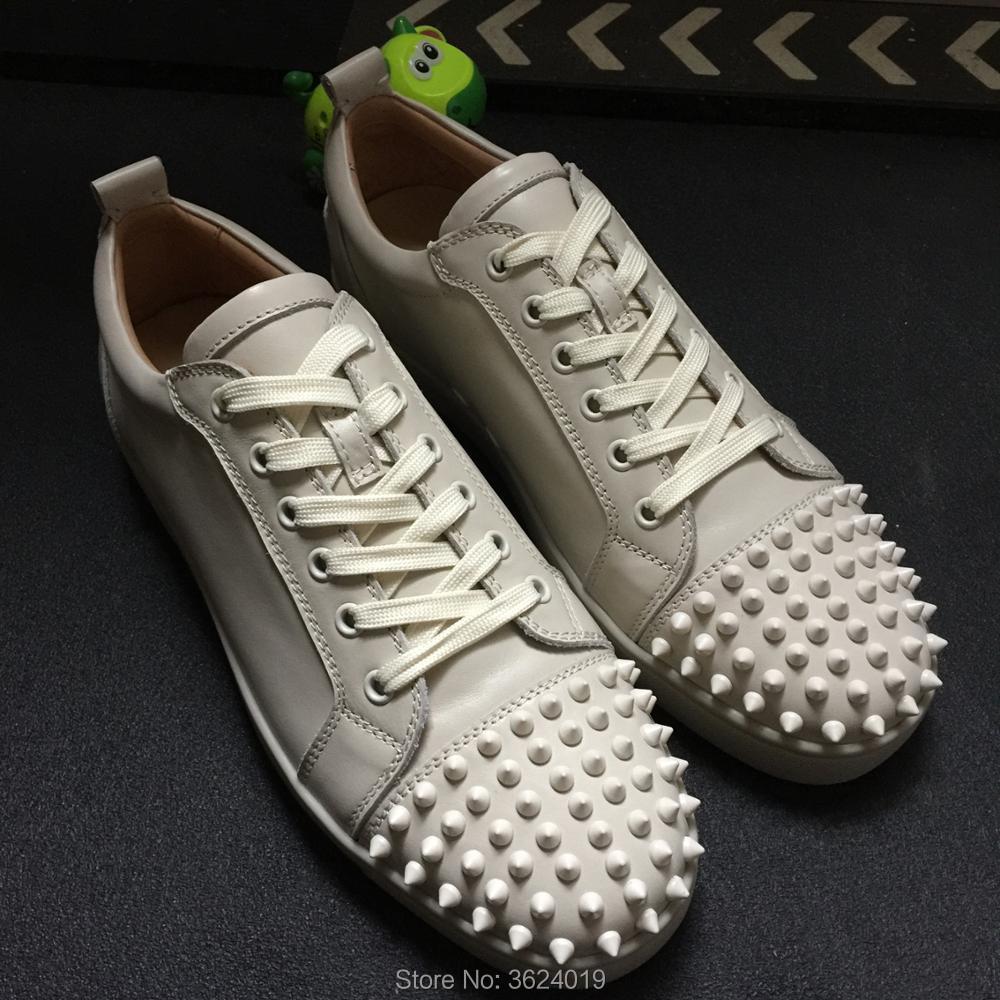 Partido Zapatos Cuero 2018 up Lace Remaches Rojos Zapatillas blanco Corte Bajo De Inferiores Casuales Clandgz Hombres Cremoso Moda HFwfHPrq