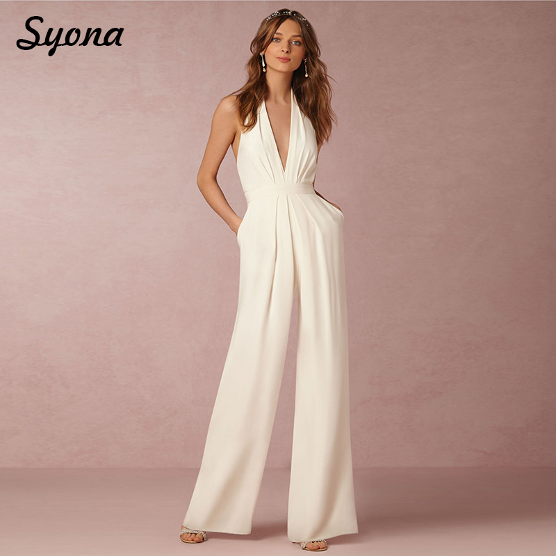 2018 Casual Sexy ROMPERS WOMENS JUMPSUIT Halter V Neck Elegant Wide Leg Pants Loose Ladies Overalls Office White Black Red Autum 1