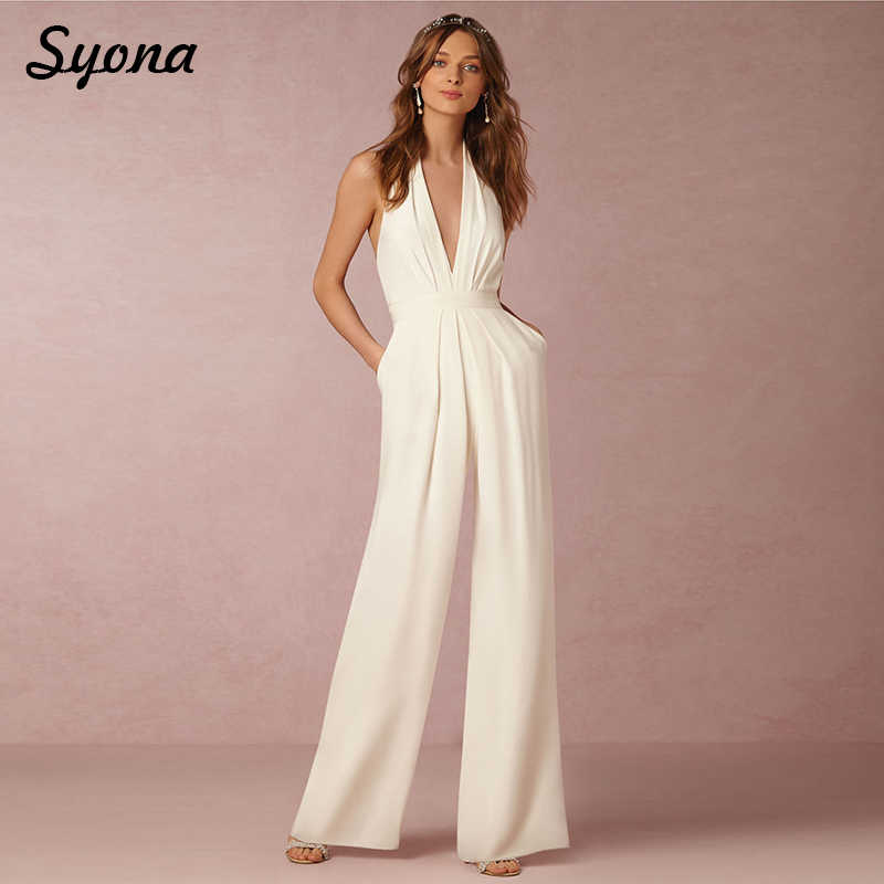 9d17bd91346 ... 2018 Casual Sexy ROMPERS WOMENS JUMPSUIT Halter V Neck Elegant Wide Leg  Pants Loose Ladies Overalls ...
