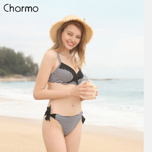 Charmo Women Swimwear Bikini Set Low Waist Striped Print Push up Tied Front Swimsuit Bandage Strappy Beachwear цены
