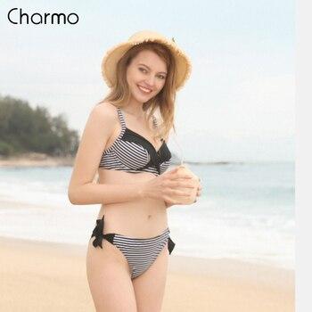 Charmo Women Swimwear Bikini Set Low Waist Striped Print Push up Tied Front Swimsuit Bandage Strappy Beachwear
