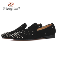Handmade men black Cow Suede shoes with silver spikes Fashion brand CL same designs men loafers red bottom men's flats plus size