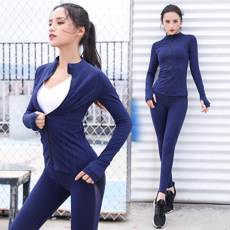 2 pièces Yoga costume femmes Sportswear survêtement élastique Leggings collants sweat + pantalon de course survêtement Fitness Gym tenue Yoga ensemble