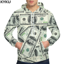 KYKU Brand Dollars Hoodies Money Sweat shirt Funny 3d hoodies Hip Hop Hoodie Men Cool 2018 Hoody