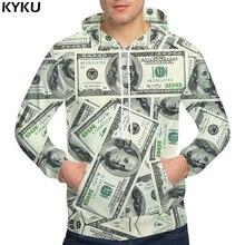 KYKU ماركة الدولار هوديس المال قميص العرق مضحك ثلاثية الأبعاد هوديس الهيب هوب هوديي الرجال كول 2018 هودي