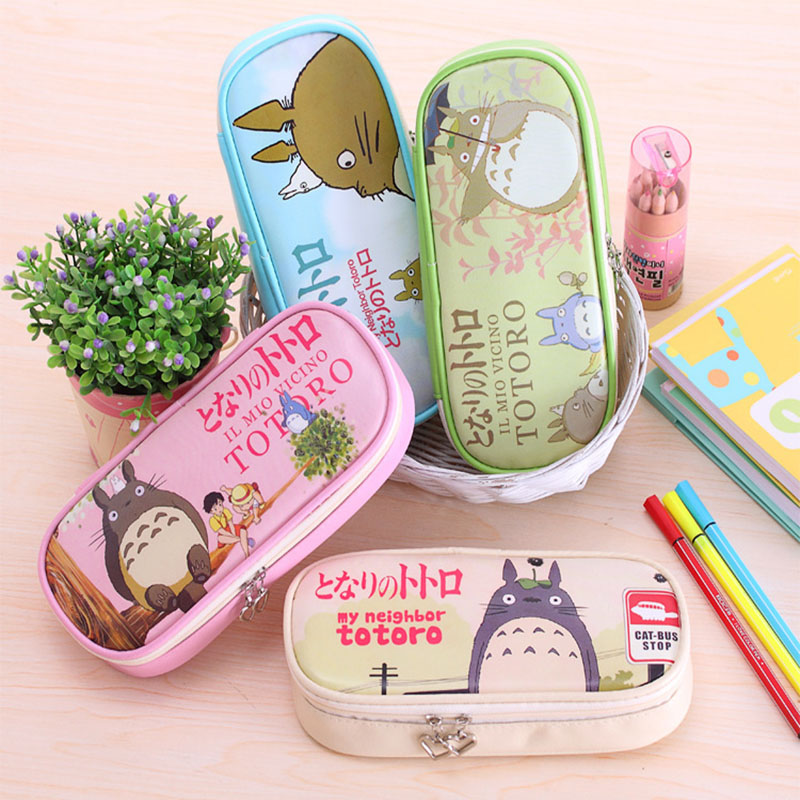 Cute Totoro PU Leather School Pencil Case For Girls Double Zipper Multifunction Stationery Pouch Pen Bag School Office Supplies