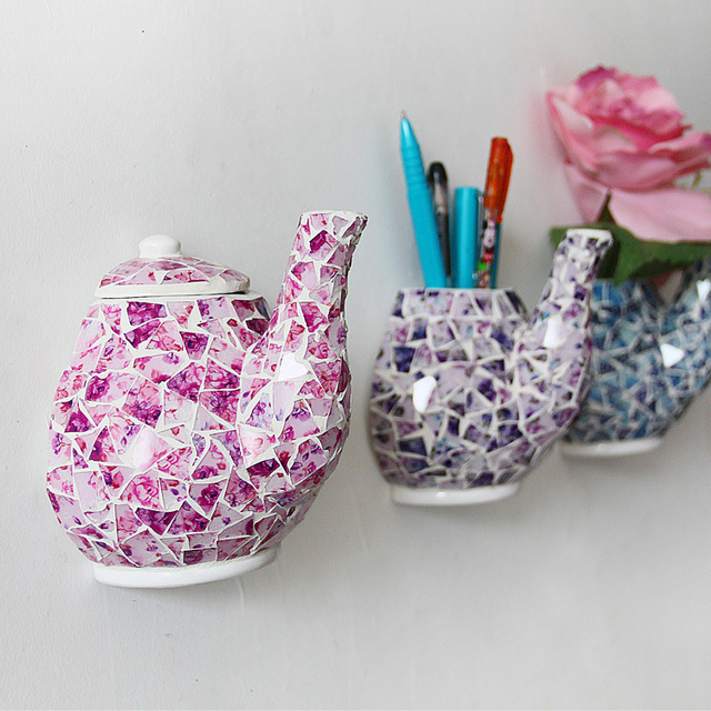 Creative Mosaic Ceramic Teapot Vases Stylish Home Living Room Dining