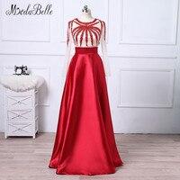 Modabelle 2018 Màu Đỏ Beading Prom Dresses Với Transparent Tay Áo Satin Tầng Chiều Dài Galajurken Evening Gowns Robe De Soiree