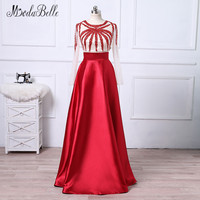modabelle 2018 Red Beading Prom Dresses With Transparent Sleeve Satin Floor Length Galajurken Evening Gowns Robe De Soiree