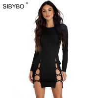 SIBYBO Strap Hollow Out Dress Women Summer 2017 Black Cross Criss Bandage Dress Sexy Casual Bodycon