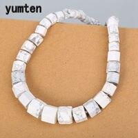 Yumten Natural Magnesite Men Necklace Diamond Big Necklace Bohemian Statement Women White Turquoise Stone Crystal Fine Jewelry