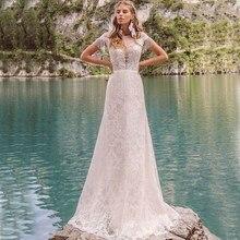 Feito sob encomenda apliques de renda completa sereia vestidos de casamento elegante boné manga robe de mariée birdal vestido