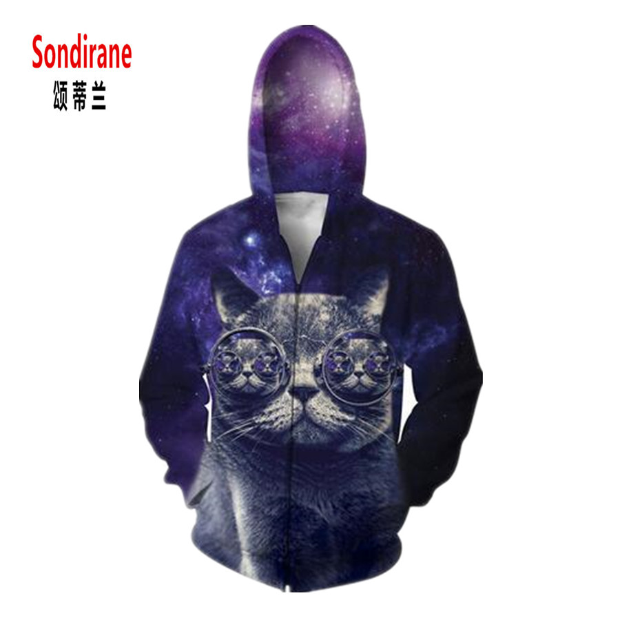 Sondirane New 3D Print Cute Cat Wearing Glasses Galaxies Space Graphics Hoodies Design Zipper Casual Sweatshirt