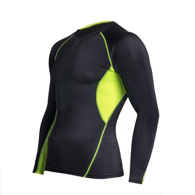 Hombres pro camisa de compresión tight pants underwear ropa tops capa base gimnasio mma lycra de secado rápido de manga larga