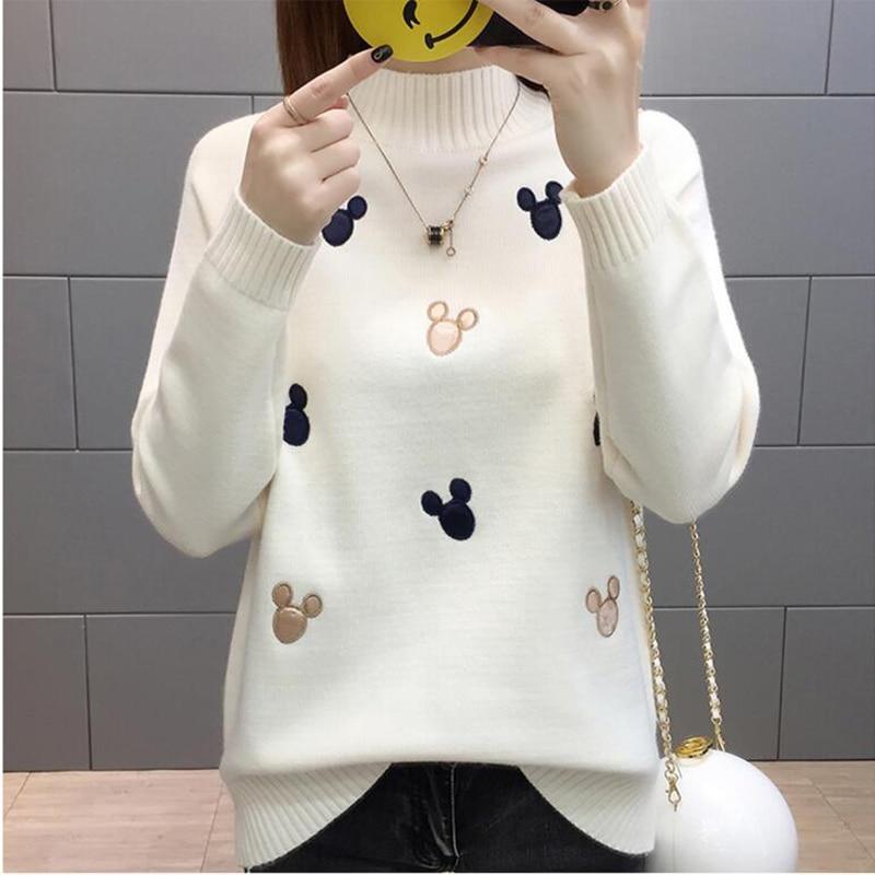 Women Knit Pullover Sweater 2019 New Autumn Winter Clothes Warm Half Turtleneck Long-sleeved Knitwear Tops Jumper Female AA372