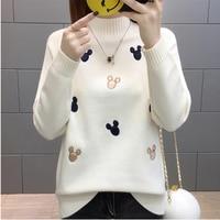 Women Knit Pullover Sweater 2019 New Autumn Winter Clothes Warm Half Turtleneck Long sleeved Knitwear Tops Jumper Female AA372