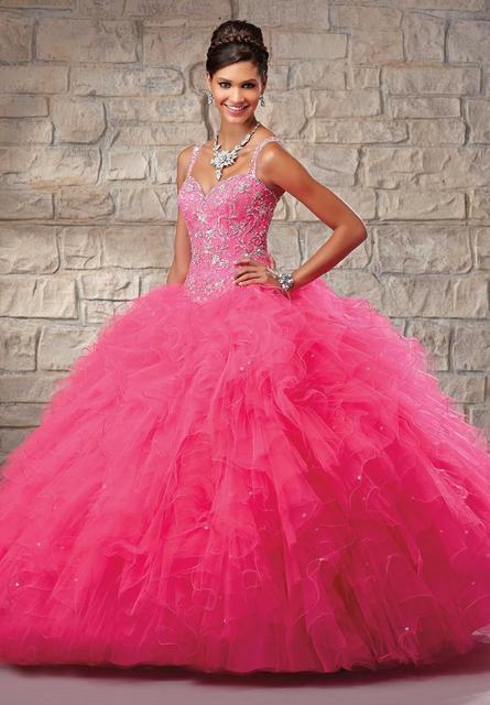 New Arrival Rhinestone Bodice Ball Gown Organza