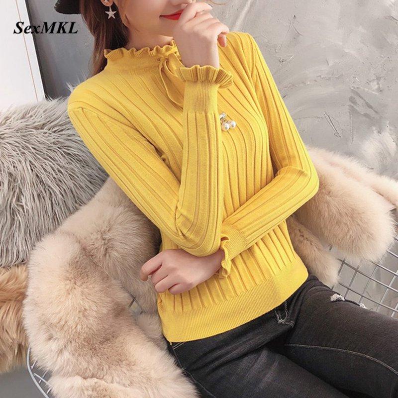 SexMKL Autumn Knitted Sweater Women 2019 Winter Long Sleeve Knitwear Sweaters Feminino Elastic Basic Korean Style Pullover Mujer